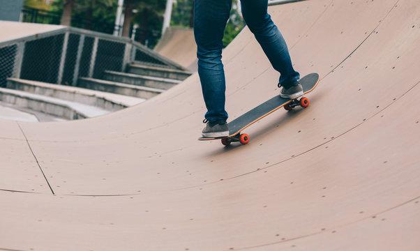 skater  skating on ramp at skatepark