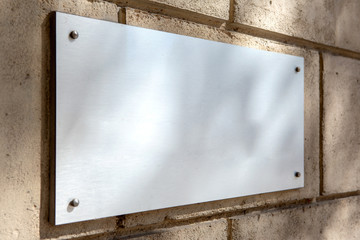 Mock up of a plate metal sign Wall mural