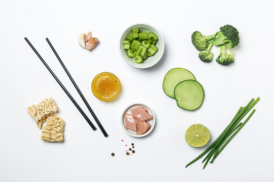 Ingredients for preparing Chinese soup on white background