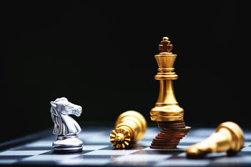 Chess board game, business competitive concept, strong financial capital advantage situation against unstable finance team