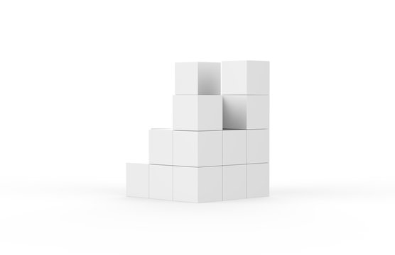 Blank white multi box display on isolated white background, 3d illustration