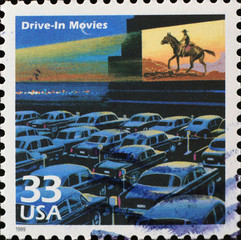 Drive-in movies on american postage stamp