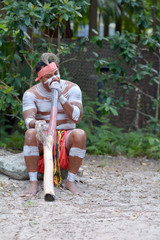 Indigenous Australian Man playing Aboriginal  Music on Didgeridoo Instrument