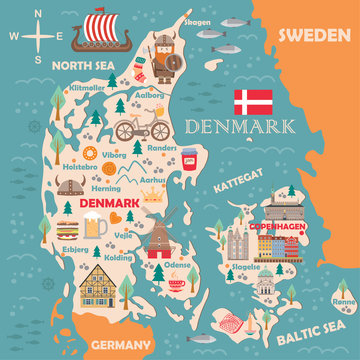 Stylized map of Denmark