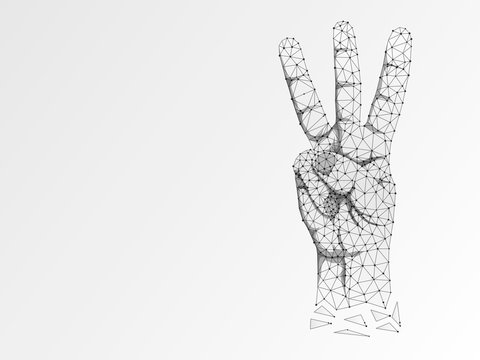 Origami Sign language V letter, hand with three fingers pointing up gesture, Polygonal low poly. Deaf People silent communication alphabet. Connection wireframe. Raster on white background