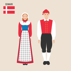 Danish man and woman in traditional costumes