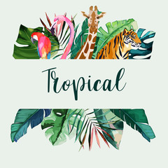 Summer frame with tropical jungle leaves, pink flamingo, giraffe, parrot and tiger.Vector aloha illustration. Watercolor style