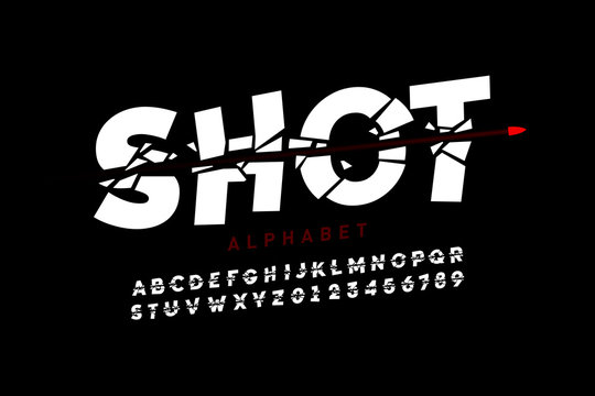 Bullet shot font, alphabet letters and numbers