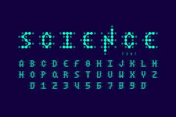 Science style font, alphabet letters and numbers