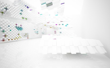 abstract architectural interior with white sculpture and geometric gradient glass box. 3D illustration and rendering