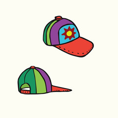 Colorful cap with sun, view from front and back, hand drawn doodle, sketch in woodcut style, color vector illustration