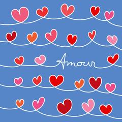 Symbolique de l'amour pour la St Valentin, avec des guirlandes de cœurs pour déclarer de ses sentiments à son amoureux