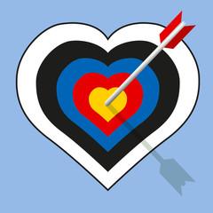 Concept du coup de foudre amoureux, avec une cible en forme de cœur percée d'une flèche en plein centre