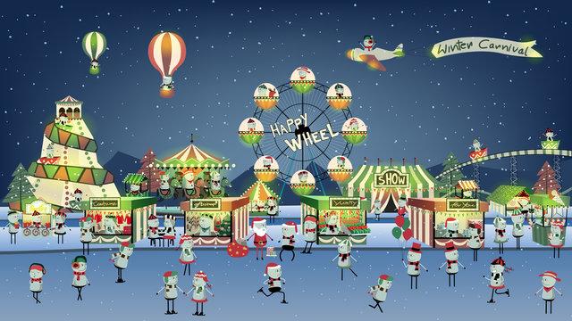 Cute winter carnival cartoon on night.
