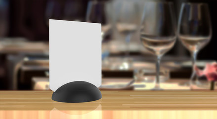 3d Mock up rendering label the blank menu frame in Bar restaurant ,Stand for booklets with white sheets paper acrylic tent card.