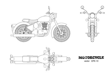 Retro classic motorcycle in outline style. Side, top and front view. Drawing of vintage motorbike on white background