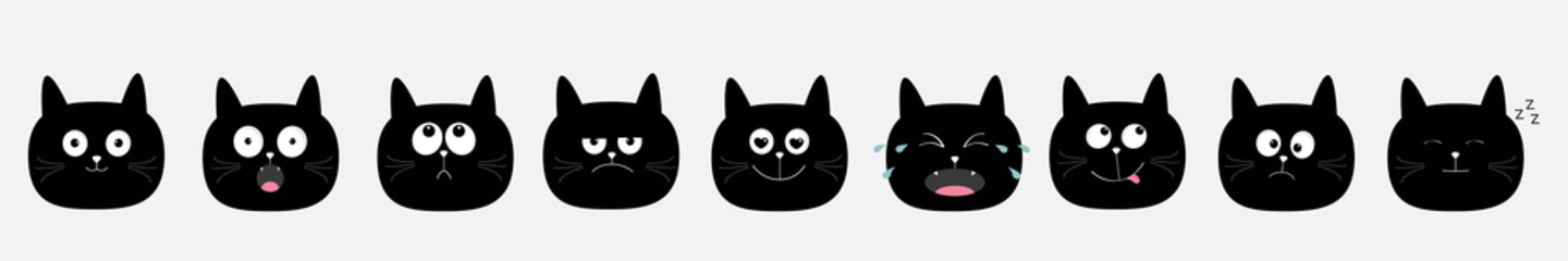 Cute cat icon set. Cute cartoon kawaii characters. Emotion collection. Round head face. Gray background. Isolated. Flat design.