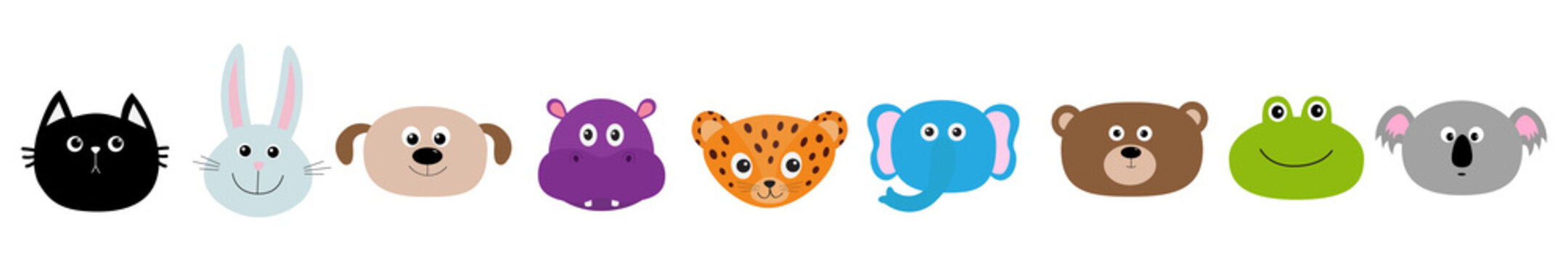 Zoo animal head face set. Cute cartoon character Baby children education. Cat, rabbit, hare, jaguar, dog, hippopotamus elephant, bear, frog koala. Flat design. White background Isolated