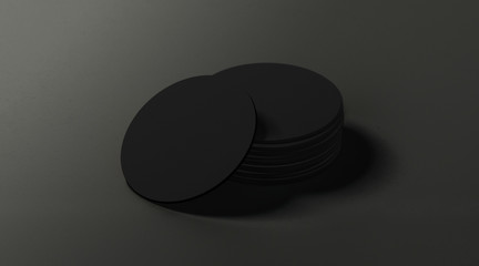 Blank black round beer coasters stack mockup on dark surface, depth of field, 3d rendering. Empty cardboard disk pile mock up. Clear beermat for glass or can template.