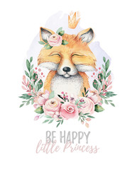 Watercolor cartoon isolated cute baby fox animal with flowers. Forest nursery woodland illustration. Bohemian boho drawing for nursery poster, pattern
