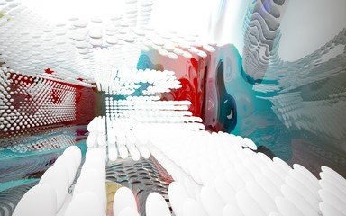 Abstract dynamic interior with white smooth objects and gradient colored wave room . 3D illustration and rendering