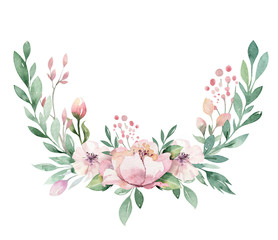 Hand drawn watercolor wreath illustration. Isolated Botanical wreathes of green branches and flower leaves. Spring and summer mood. Wedding blossom Floral Design elements.