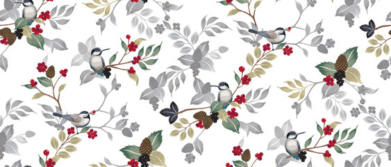 Foto auf Gartenposter Botanisch Vector illustration of a seamless floral pattern with cute birds in winter for Wedding, anniversary, birthday and party. Design for banner, poster, card, invitation and scrapbook