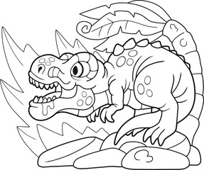 cartoon cute tyrannosaurus, coloring book, funny illustration