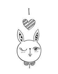 I love you! Greeting card with little cute rabbit. Vector illustration.