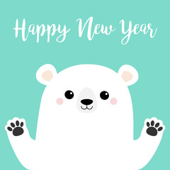 Happy New Year. White polar bear holding hands paw print. Cute cartoon funny kawaii baby character. Merry Christmas. Greeting Card. Flat design. Blue background. Greeting card.
