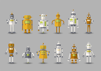 Retro vintage funny vector robot set icon in flat style isolated on grey background. Vintage illustration of flat Chatbot icon collection. Set of Cute cartoon retro robot icons, vintage chat bot set