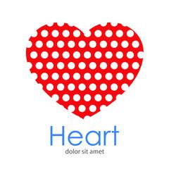 Logotipo Heart con patrón de círculos en espacio negativo en corazón rojo
