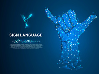 Sign language Y letter, two fingers pointing up, hand showing Yes gesture, Polygonal low poly. Deaf People silent communication alphabet. Connection wireframe. Vector on dark blue background