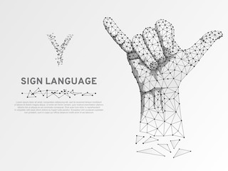 Origami Sign language Y letter, two fingers pointing up, hand showing Yes gesture, Polygonal low poly. Deaf People silent communication alphabet. Connection wireframe. Vector on white background