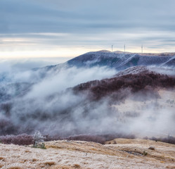 Winter is comming... / Winter landscape with frosty foggy peaks of Balkan Mountains, Bulgaria