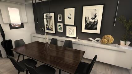 proyecto 3d comedor estilo sofisticado moderno