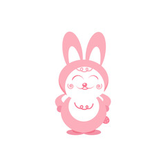 Rabbit smiles cartoon cute character pink pastels falt design isolated on white abstract background vector illustration