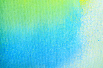 Gradient blue yellow and green watercolor background. Abstract watercolor art of paint on white paper.