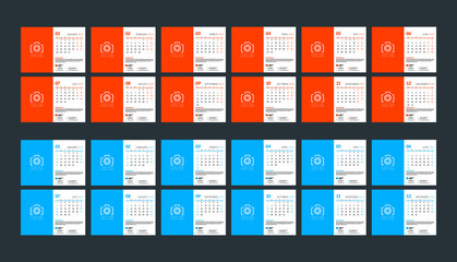 Wall calendar template for 2019 year. Week starts on Sunday. Week starts on Monday. Vector illustration