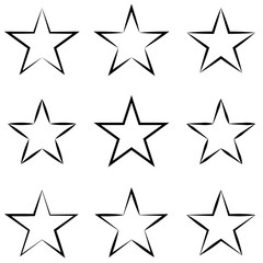 Set stars with calligraphic outline stroke, vector hand drawn star shape outline