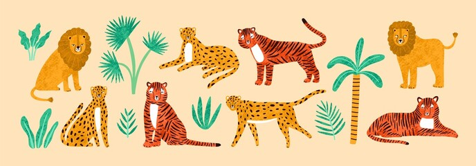 Collection of amusing lions, tigers, leopards, exotic leaves, tropical plants and palm tree isolated on light background. Bundle of wild African feline animals. Flat cartoon vector illustration.