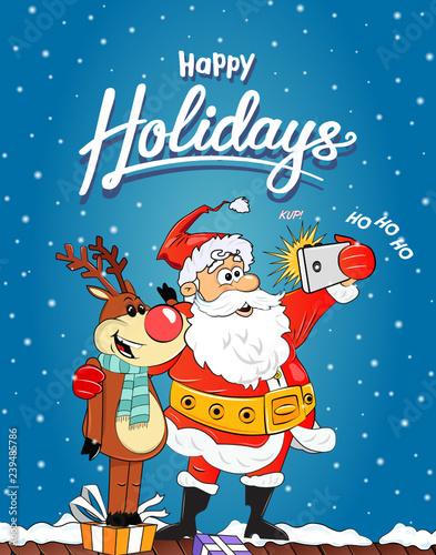 Christmas Celebration Cartoon Images.Mery Christmas Celebration From Cute Santa Claus Christmas