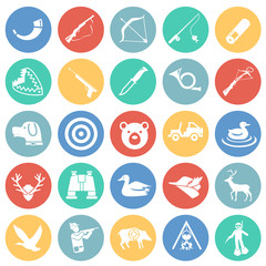 Hunting icon set on color circles background for graphic and web design, Modern simple vector sign. Internet concept. Trendy symbol for website design web button or mobile app