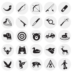 Hunting icon set on circles background for graphic and web design, Modern simple vector sign. Internet concept. Trendy symbol for website design web button or mobile app