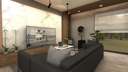 PROYECTO DE MUEBLE TV 3D EN MARMOL Y madera