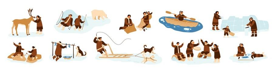 Fototapeta Bundle of Eskimo men, women and children in traditional folk costumes. Collection of northern indigenous people fishing, hunting bear, dancing, building igloo. Flat cartoon vector illustration. obraz