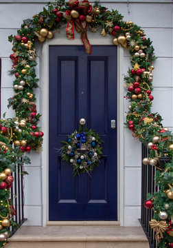 A Christmas Decorated Luxury Front Door