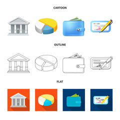 Vector design of bank and money symbol. Collection of bank and bill vector icon for stock.