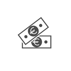 Black bank notes with euro sign. Flat icon isolated on white. Money pictogram.
