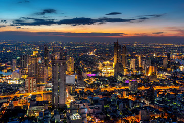 Fototapete - Aerial view of Bangkok cityscape, Thailand